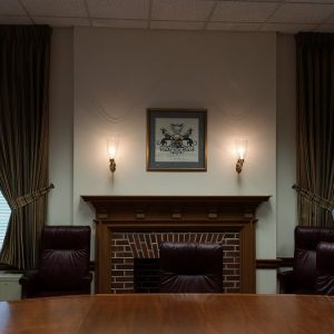 Pinch Pleated Draperies and tie backs in Lukens Iron & Steel Museum Board Room