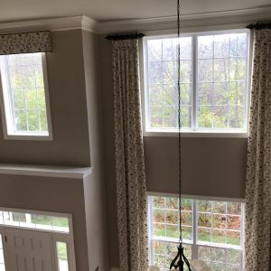 Draperies over two-story windows in Chester Springs, PA