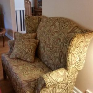 Reupholstered love seat in Exton, PA home
