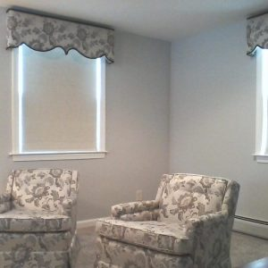 Reupholstered chairs to match cornices