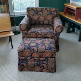 Reupholstered chair & ottoman: Glenmoore, PA