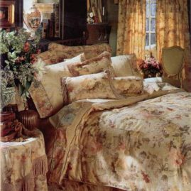 Tufted bedding set with comforter, shams and pillows with coordinating table cover w/ bullion fringe.