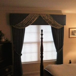 Honeycomb blind, wrapped swag cornice, & draperies installed in Chester Springs, PA bedroom