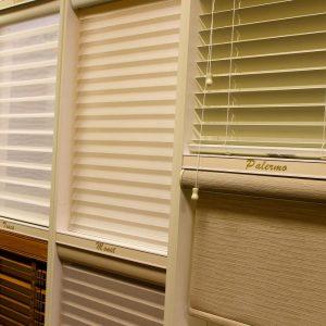 N J Rose Showroom store display showcasing multiple blind styles.