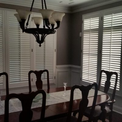 Plantation shutters cover windows in Pottstown, PA dining room