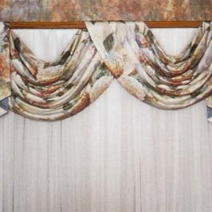 Pole swag and jabot on decorative curtain rod made in contrast fabrics.