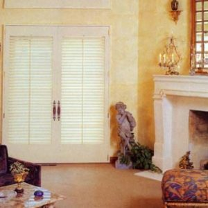 Pair of plantation shutters for set of French doors.