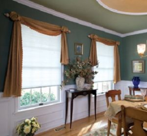 Cordless cellular honeycomb shade with scarf style swag valance. - Downingtown, PA