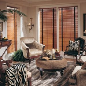 """2"""" wood blinds with decorative tapes and crown valance"""